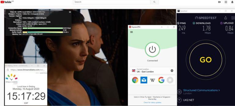 Windows10 ExpressVPN IKEv2协议 UK- East London 中国VPN 翻墙 科学上网 翻墙速度测试 - 20200810
