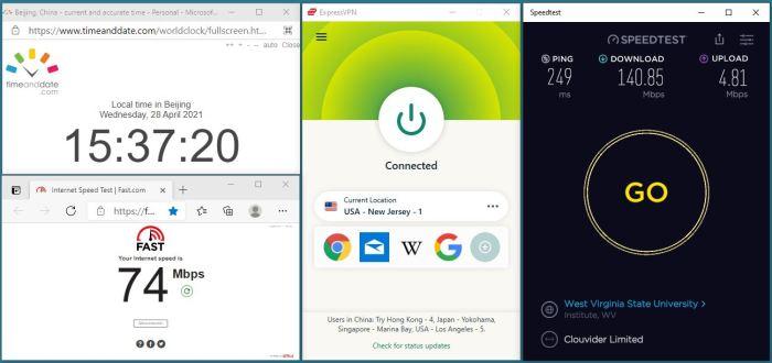 Windows10 ExpressVPN IKEv2协议 USA - New Jersey - 1 服务器 中国VPN 翻墙 科学上网 10BEASTS Barry测试 - 20210428