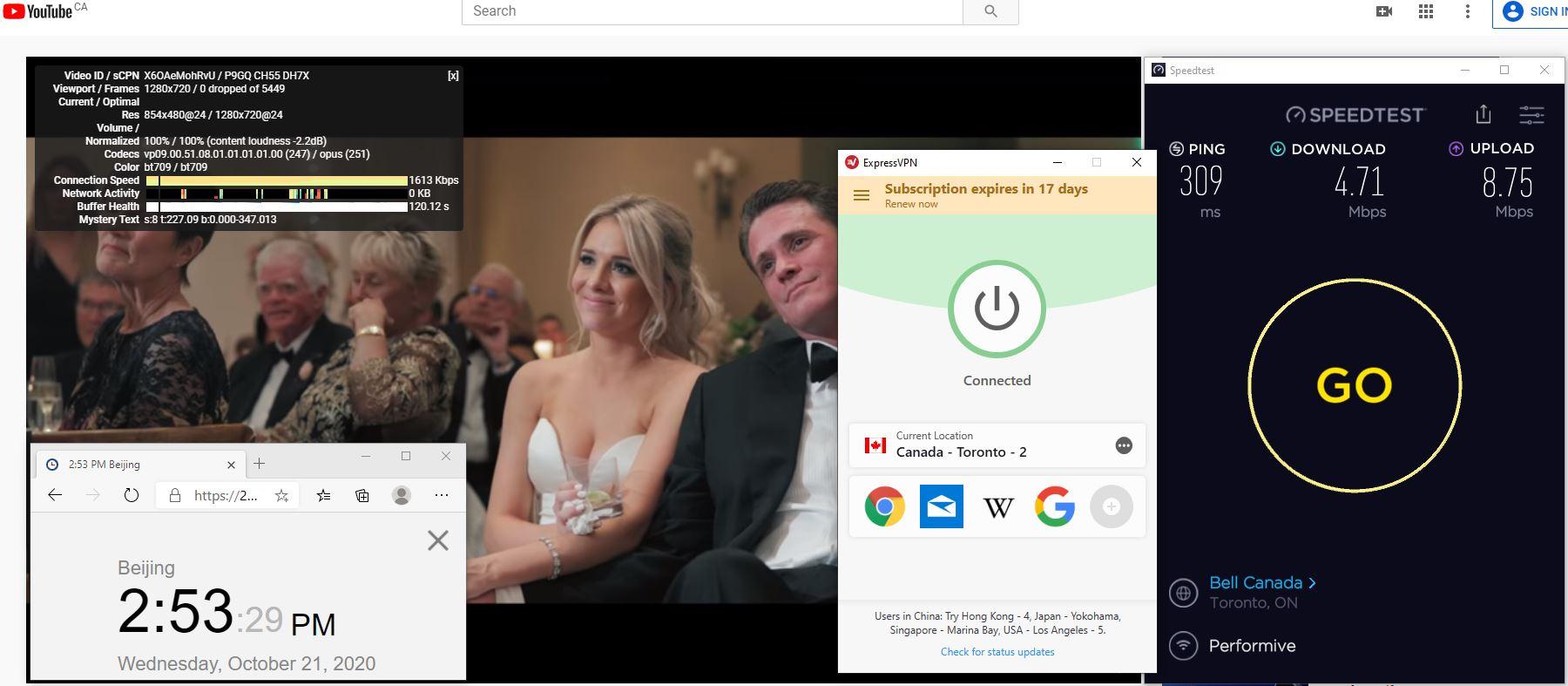 Windows10 ExpressVPN IKEv2 Canada - Toronto - 2 服务器 中国VPN 翻墙 科学上网 翻墙速度测试 - 20201021