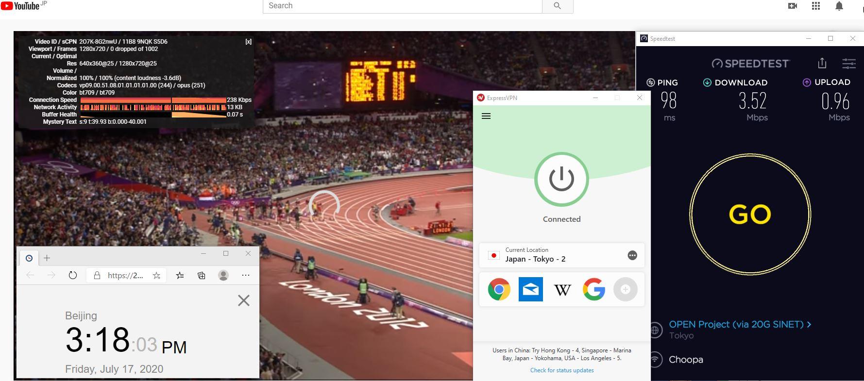 Windows10 ExpressVPN IKEv2 Japan - Tokyo - 2 中国VPN 翻墙 科学上网 测速-20200717