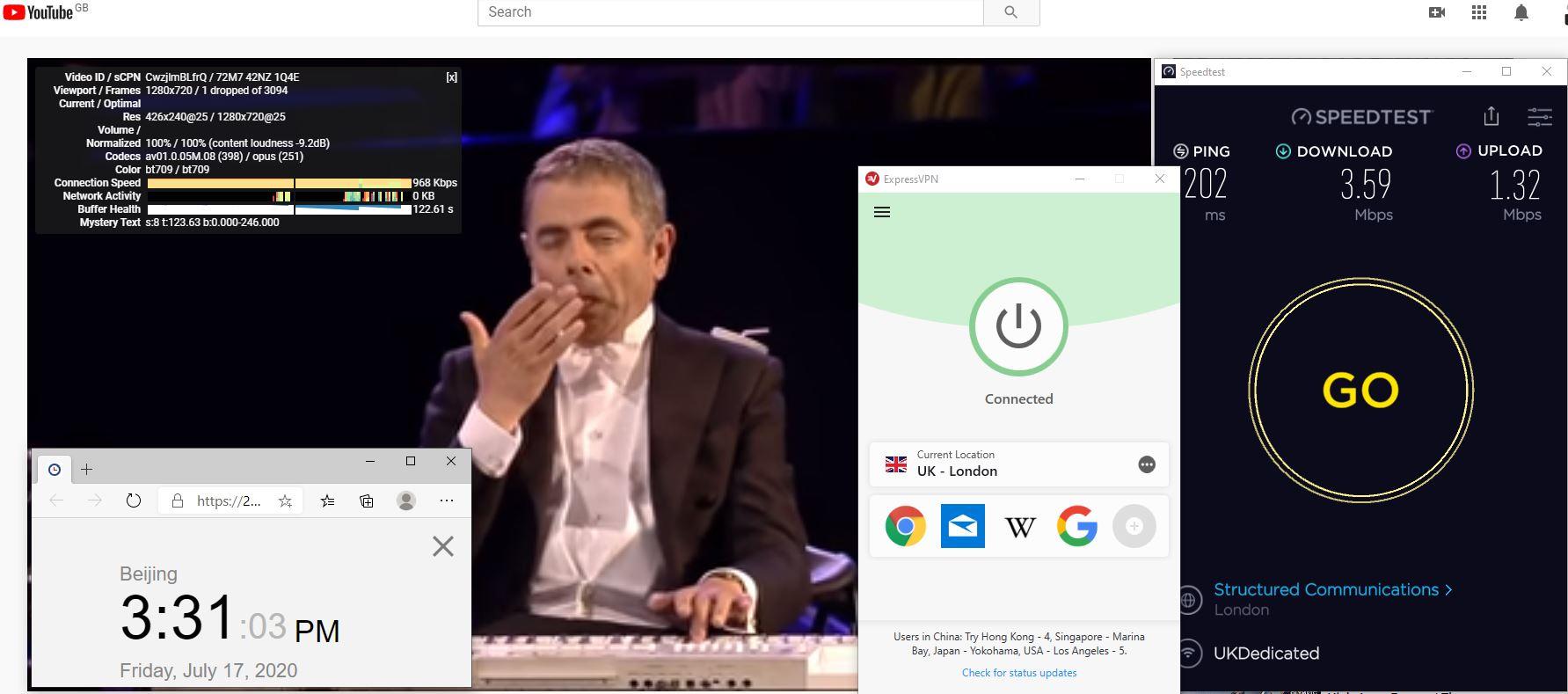 Windows10 ExpressVPN IKEv2 UK - London 中国VPN 翻墙 科学上网 测速-20200717