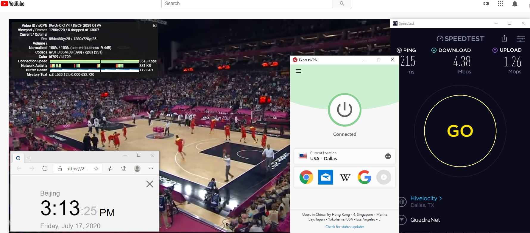 Windows10 ExpressVPN IKEv2 USA - Dallas 中国VPN 翻墙 科学上网 测速-20200717