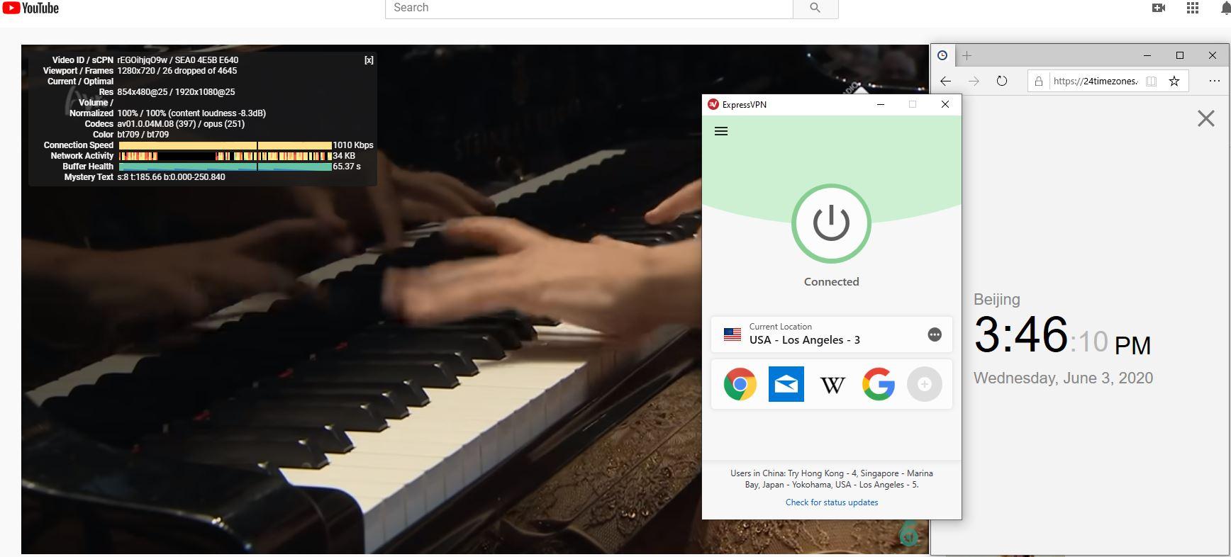 Windows10 ExpressVPN IKEv2 USA - Los Angeles - 3 中国VPN 翻墙 科学上网 测速-20200603