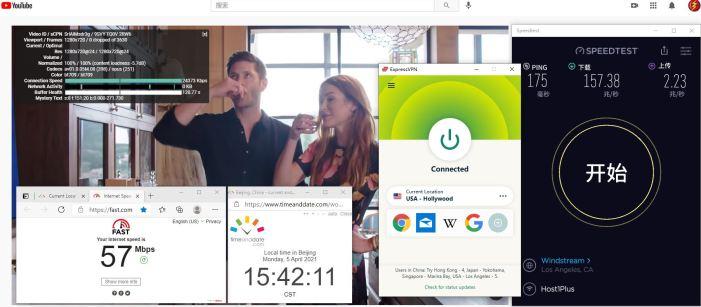 Windows10 ExpressVPN Lightway-udp USA - Hollywood 服务器 中国VPN 翻墙 科学上网 10BEASTS Barry测试 - 20210405