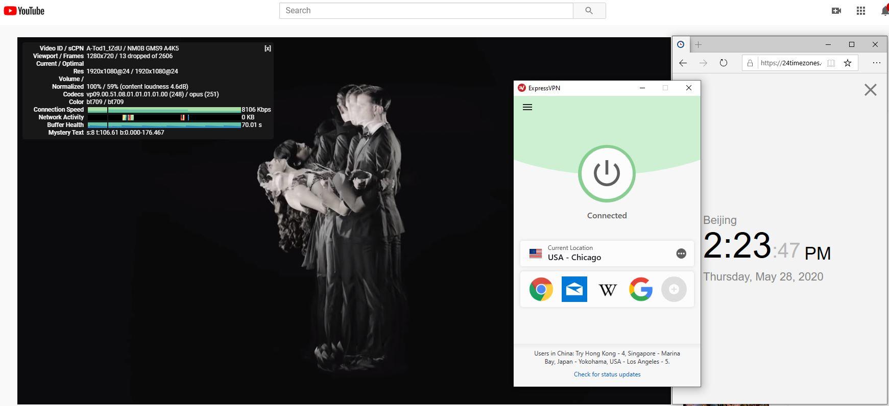 Windows10 ExpressVPN USA - Chicago 中国VPN 翻墙 科学上网 测速-20200528