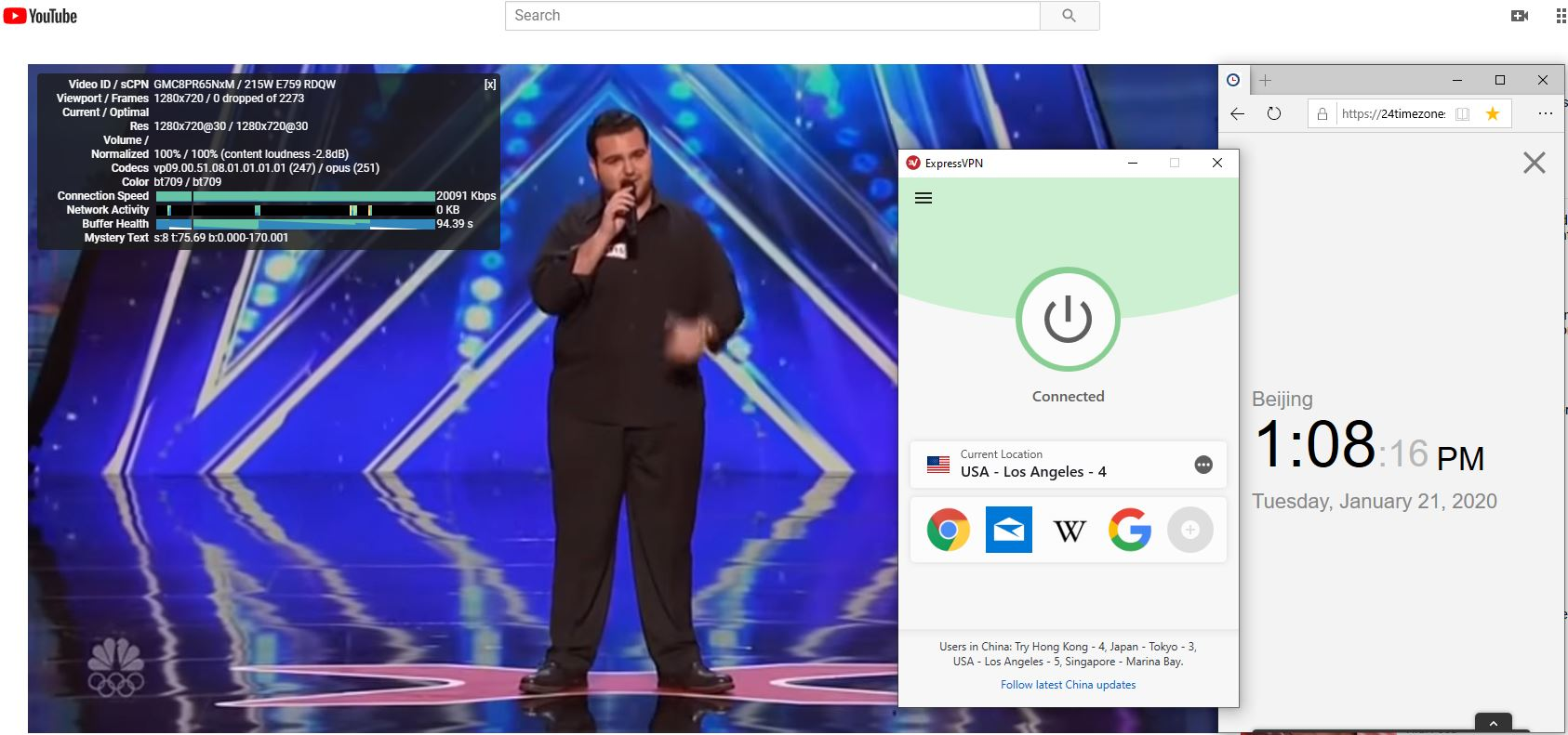 Windows10 ExpressVPN USA - Los Angeles -4 中国VPN翻墙 科学上网 Youtube测速-20200121