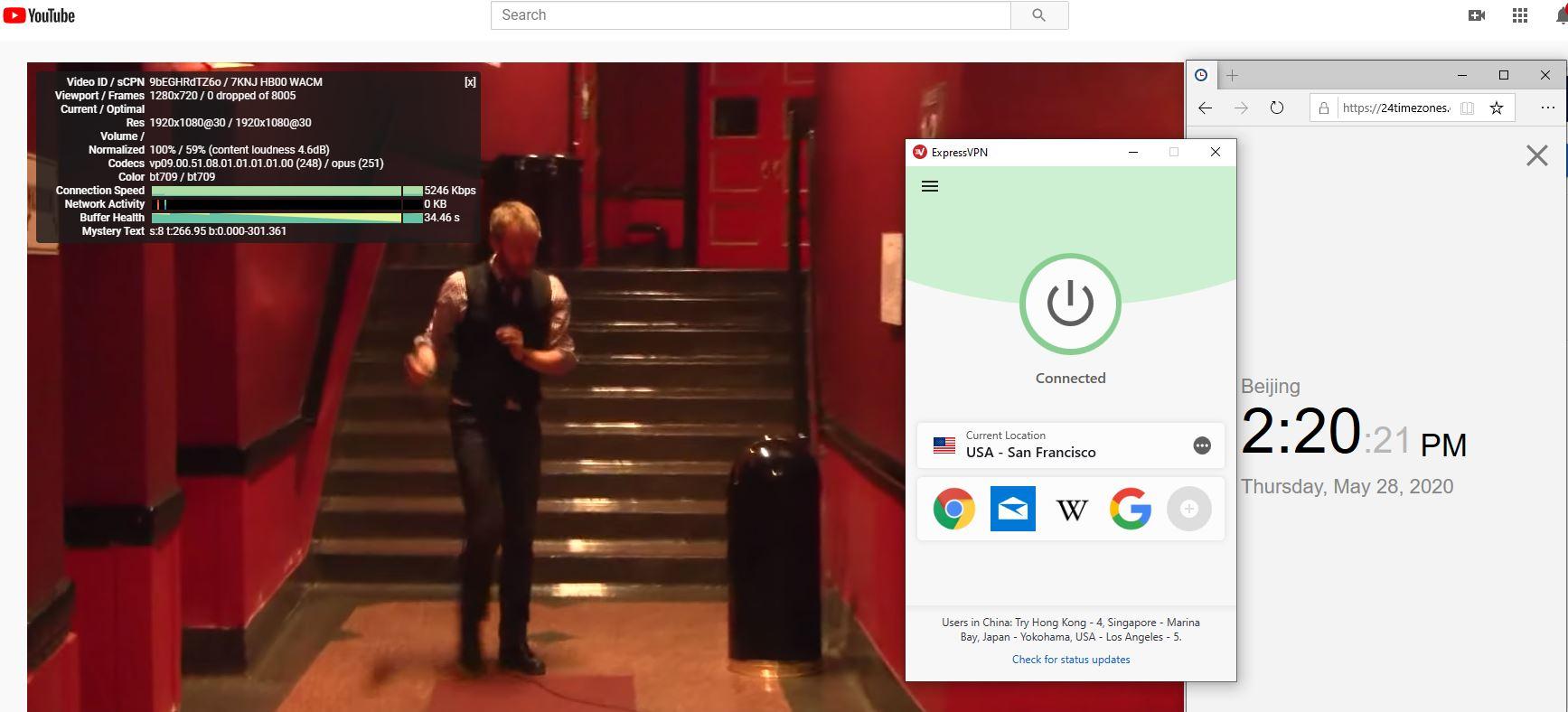 Windows10 ExpressVPN USA - San Francisco 中国VPN 翻墙 科学上网 测速-20200528