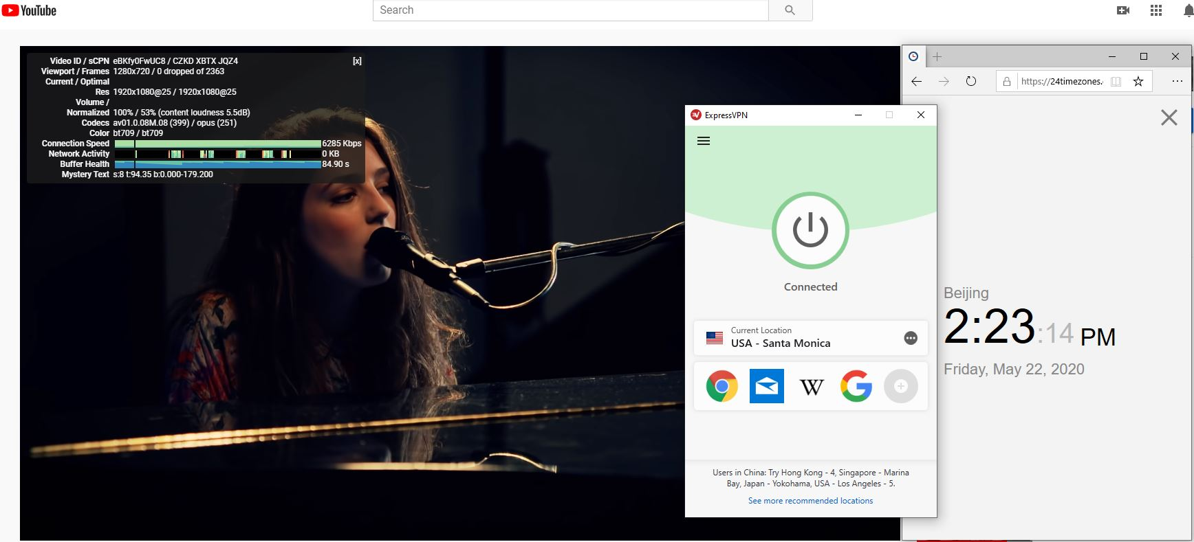 Windows10 ExpressVPN USA - Santa Monica 中国VPN 翻墙 科学上网 youtube测速-20200522