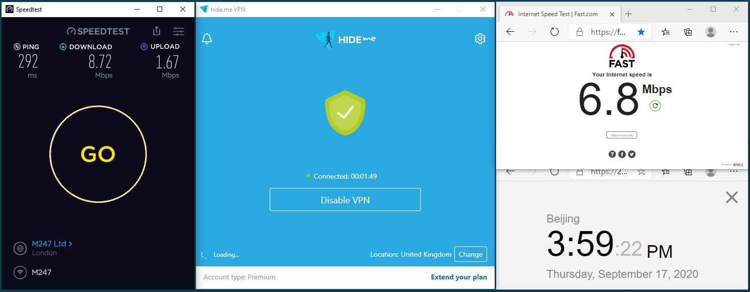 Windows10 HidemeVPN Streaming UK-BBC iPlay 服务器 中国VPN 翻墙 科学上网 翻墙速度测试 - 20200917