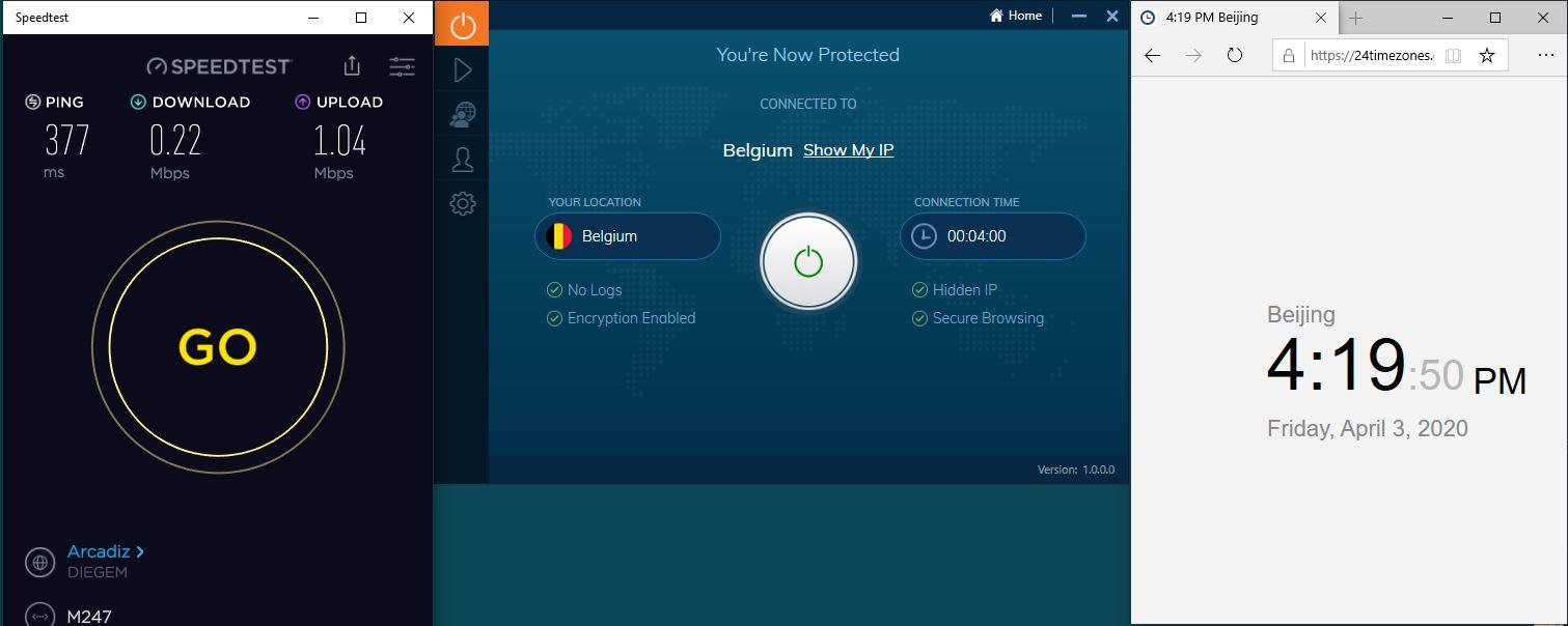 Windows10 IvacyVPN Belgium 中国VPN翻墙 科学上网 SpeedTest测速-20200403
