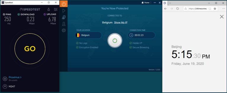 Windows10 IvacyVPN Belgium 中国VPN 翻墙 科学上网 测速-20200619