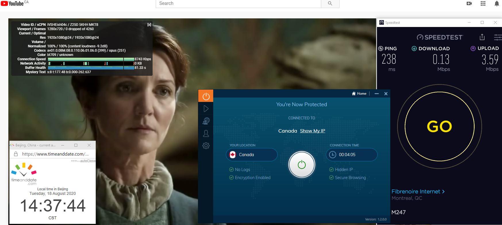 Windows10 IvacyVPN Canada中国VPN 翻墙 科学上网 翻墙速度测试 - 20200818