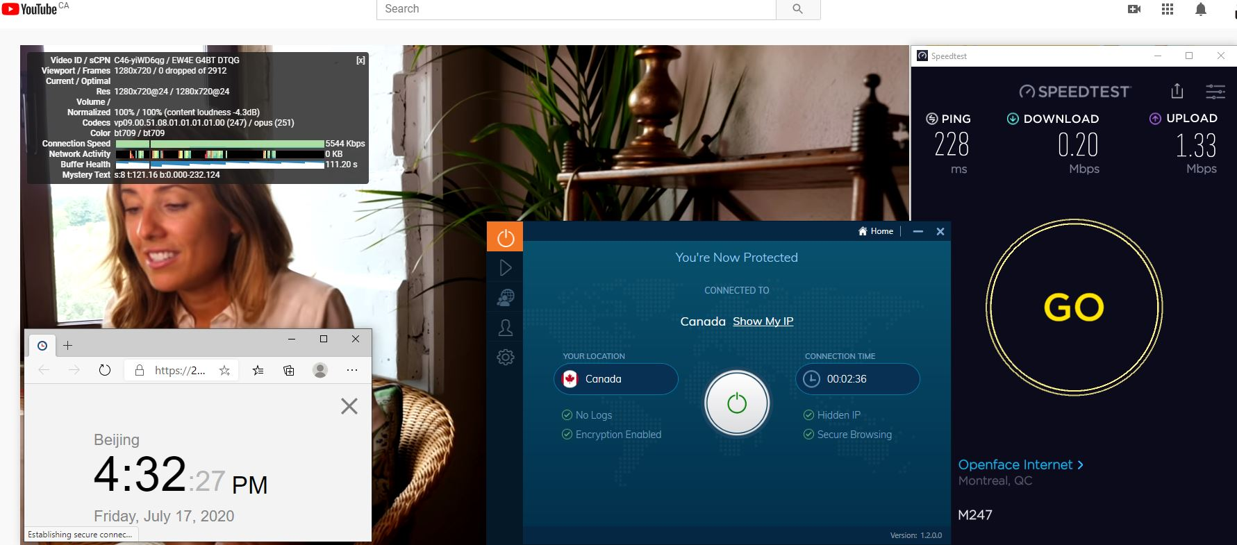 Windows10 IvacyVPN Canada 中国VPN 翻墙 科学上网 测速-20200717