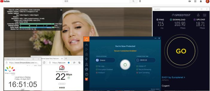 Windows10 IvacyVPN IKEv2协议 Greece 服务器 中国VPN 翻墙 科学上网 10BEASTS Barry测试 - 20210423-1