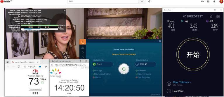 Windows10 IvacyVPN IKEv2 Brazil 服务器 中国VPN 翻墙 科学上网 10BEASTS Barry测试 - 20210323