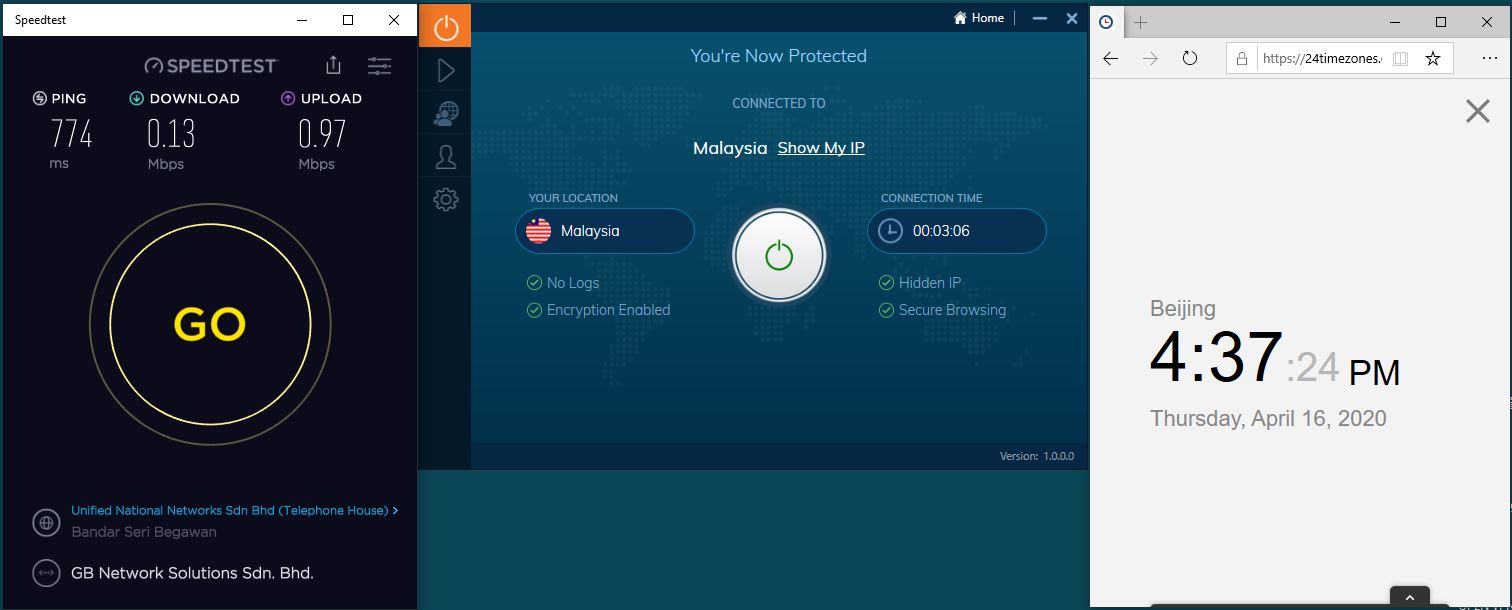 Windows10 IvacyVPN Malaysia 中国VPN 翻墙 科学上网 SpeedTest测速-20200416