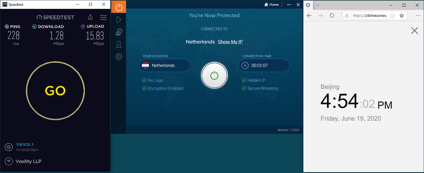 Windows10 IvacyVPN Netherlands 中国VPN 翻墙 科学上网 测速-20200619