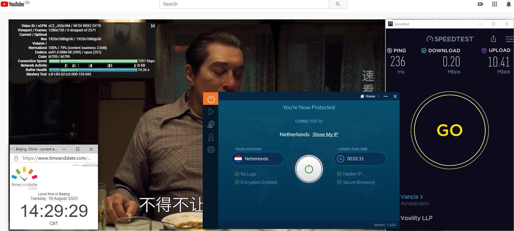 Windows10 IvacyVPN Netherlands 中国VPN 翻墙 科学上网 翻墙速度测试 - 20200818