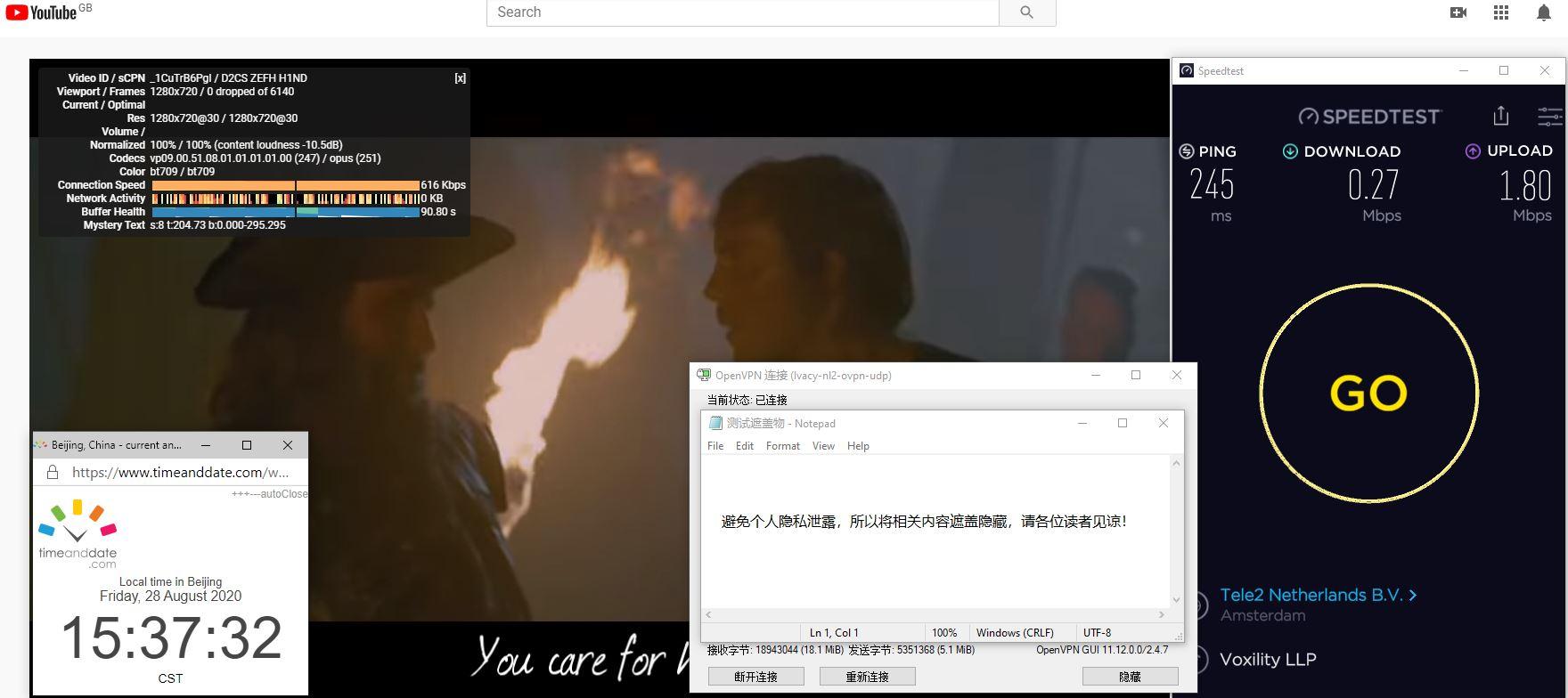 Windows10 IvacyVPN OpenVPN GUI nl2 中国VPN 翻墙 科学上网 翻墙速度测试 - 20200828