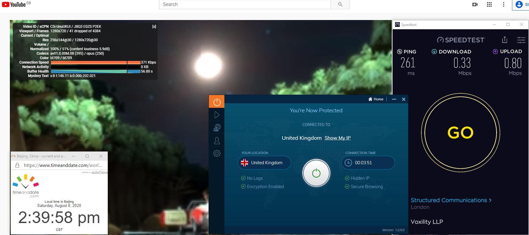 Windows10 IvacyVPN-Prime版本 UK 中国VPN 翻墙 科学上网 翻墙速度测试 - 20200808