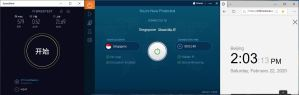 Windows10 IvacyVPN Singapore 中国VPN翻墙 科学上网 SpeedTest测试 - 20200222