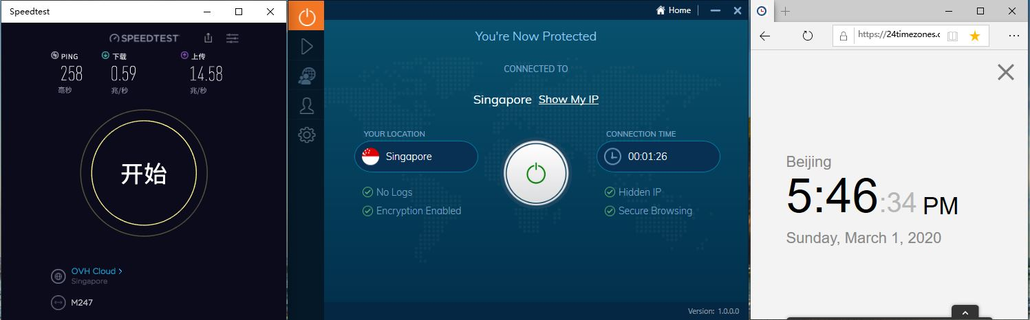 Windows10 IvacyVPN Singapore 中国VPN翻墙 科学上网 SpeedTest测速 - 20200301