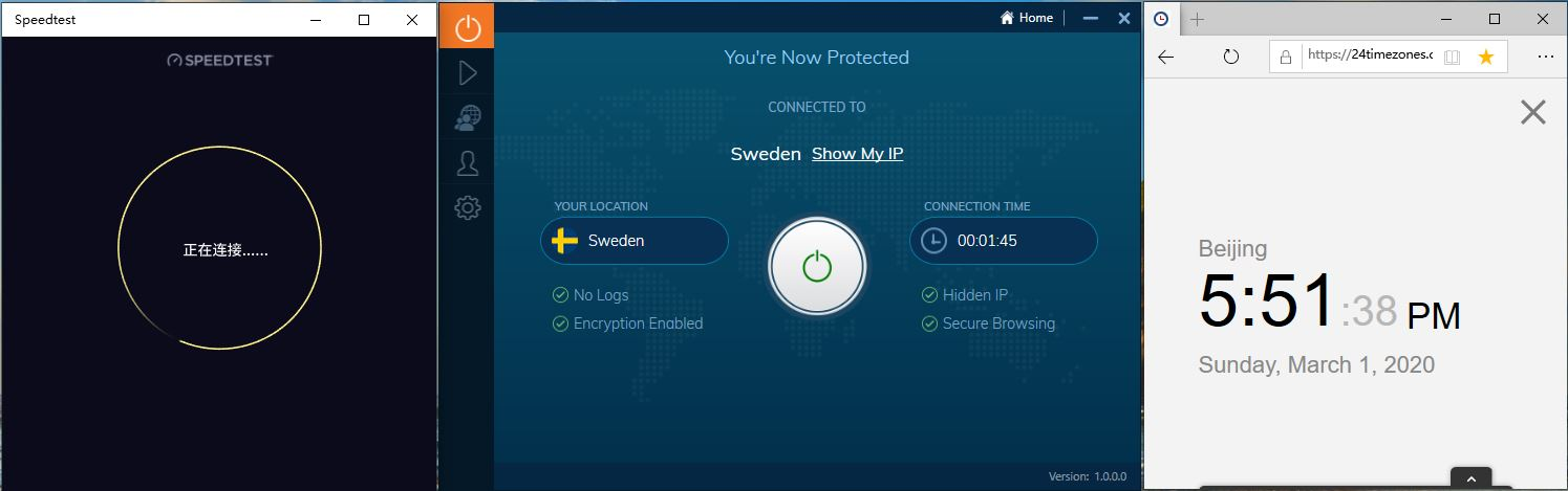 Windows10 IvacyVPN Sweden 中国VPN翻墙 科学上网 SpeedTest测速 - 20200301