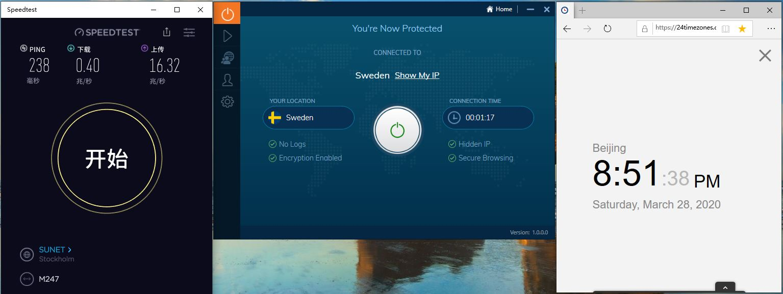 Windows10 IvacyVPN Sweden 中国VPN翻墙 科学上网 Speedtest测速 - 20200328