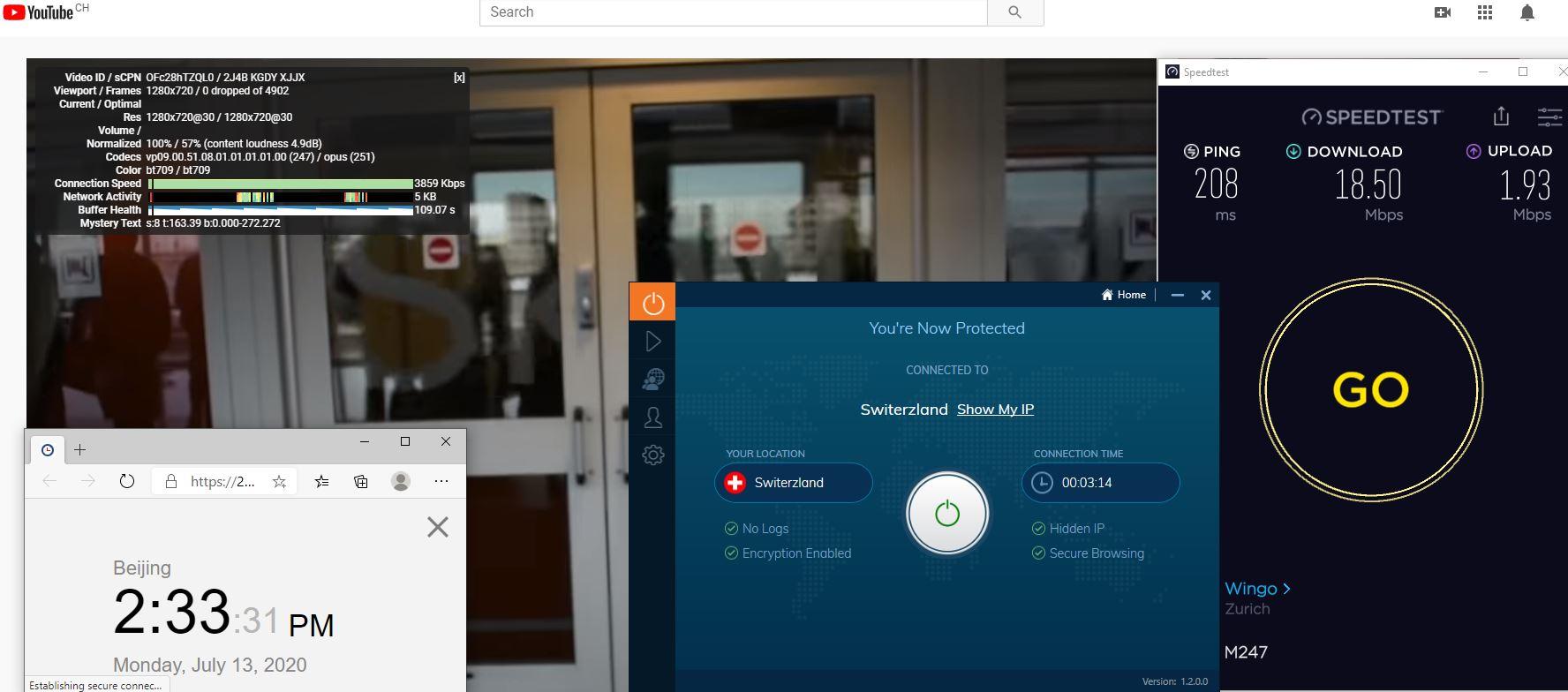 Windows10 IvacyVPN Switerzland 中国VPN 翻墙 科学上网 测速-20200713