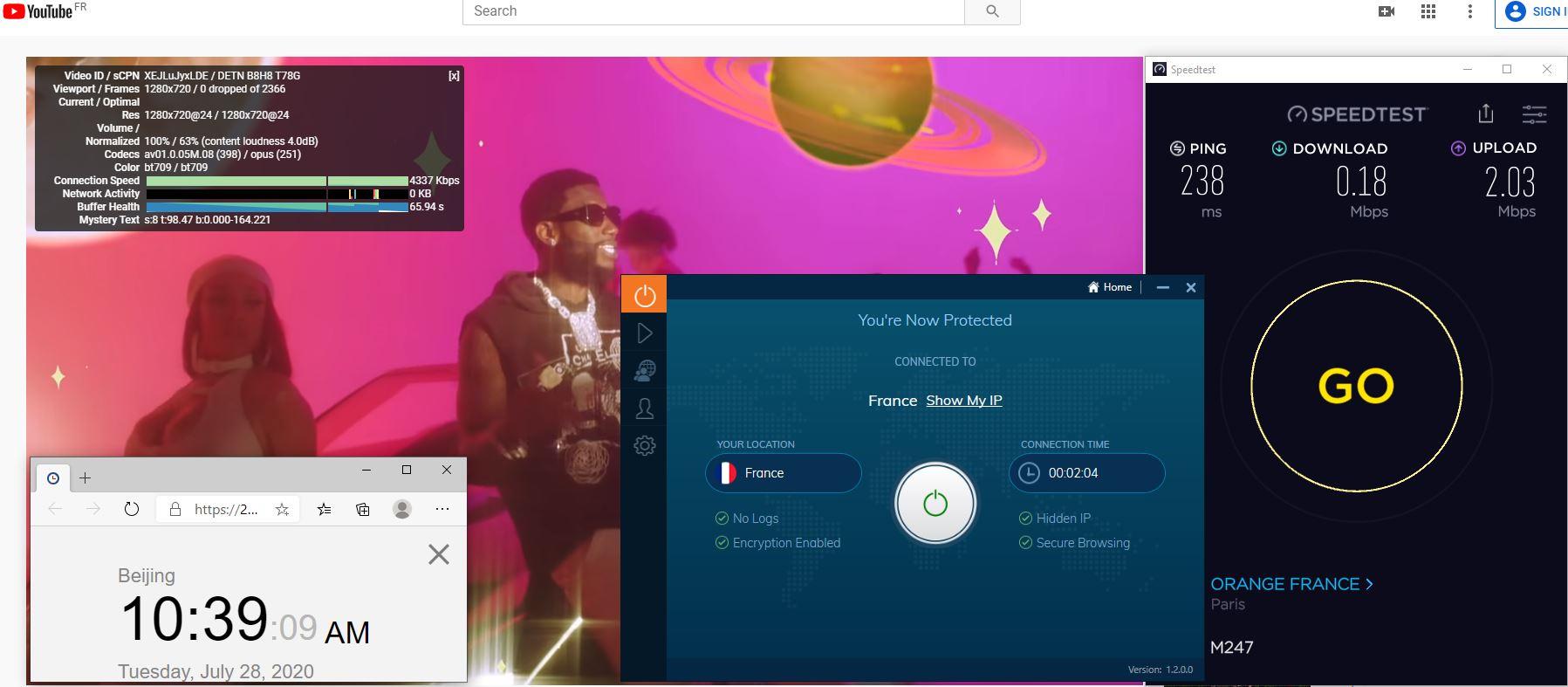 Windows10 IvacyVPN UDP协议 France 中国VPN 翻墙 科学上网 测速-20200728