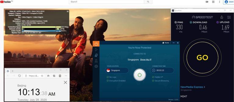 Windows10 IvacyVPN UDP协议 Singapore 中国VPN 翻墙 科学上网 测速-20200728