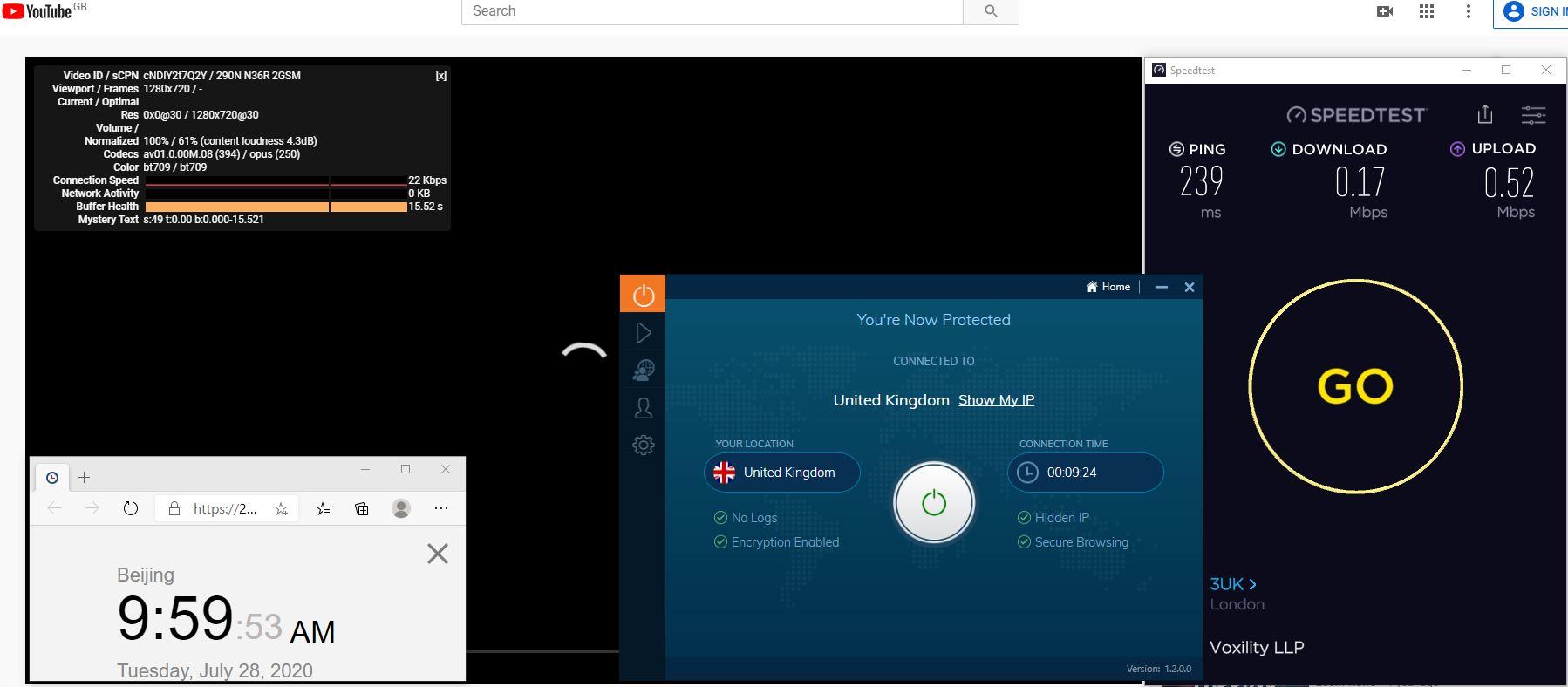 Windows10 IvacyVPN UDP协议 UK 中国VPN 翻墙 科学上网 测速-20200728
