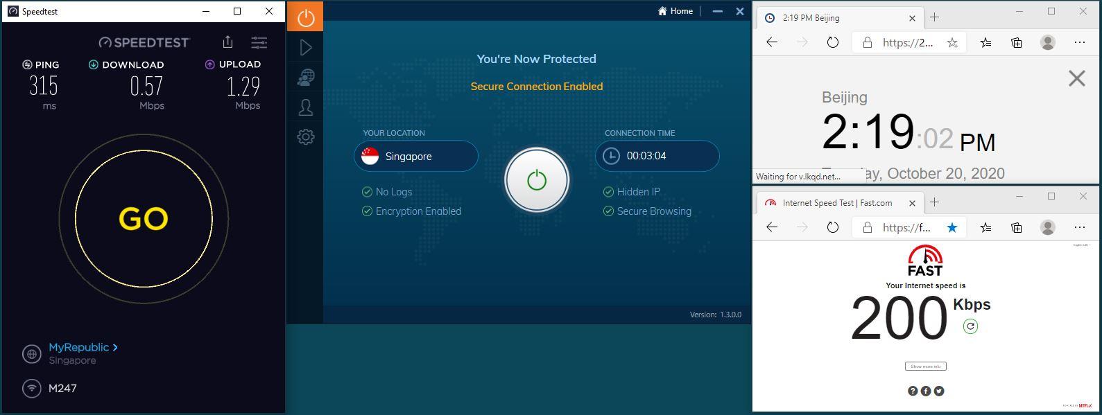 Windows10 IvacyVPN UDP+5555端口 Singapore 服务器 中国VPN 翻墙 科学上网 翻墙速度测试 - 20201020