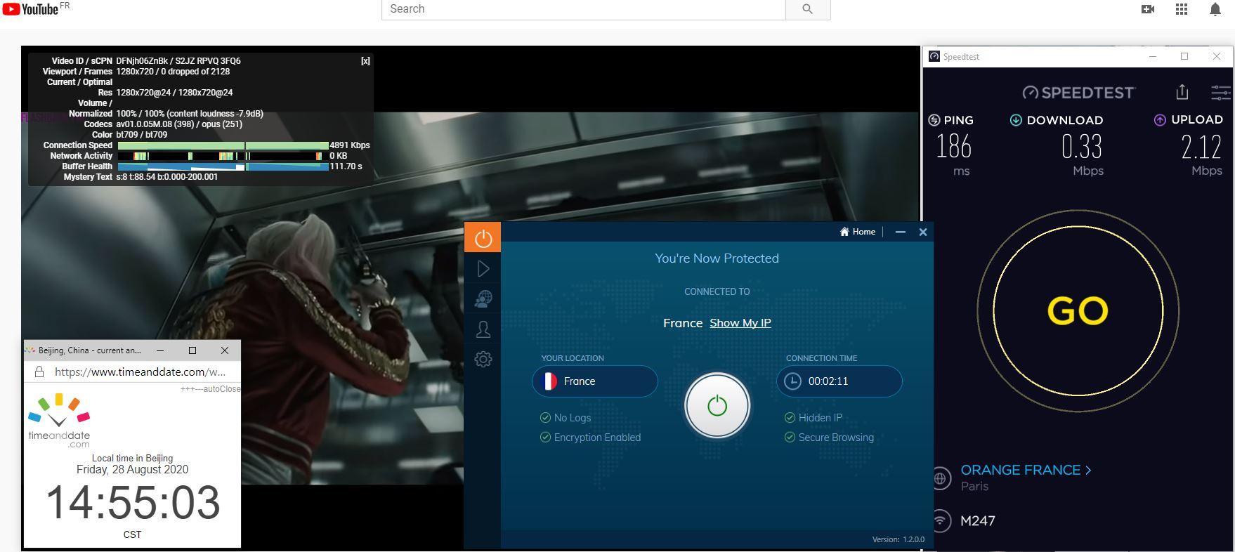 Windows10 IvacyVPN UDP+Port 5555 France 中国VPN 翻墙 科学上网 翻墙速度测试 - 20200828