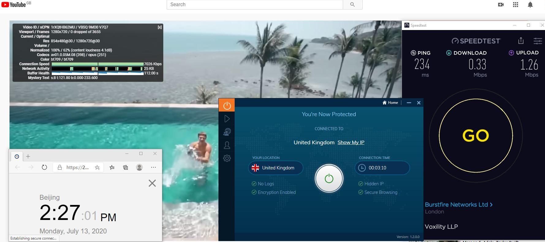 Windows10 IvacyVPN UK 中国VPN 翻墙 科学上网 测速-20200713
