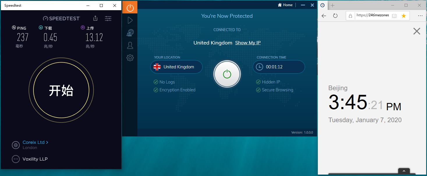 Windows10 IvacyVPN United Kingdom 中国VPN翻墙 科学上网 SpeedTest测速-20200107