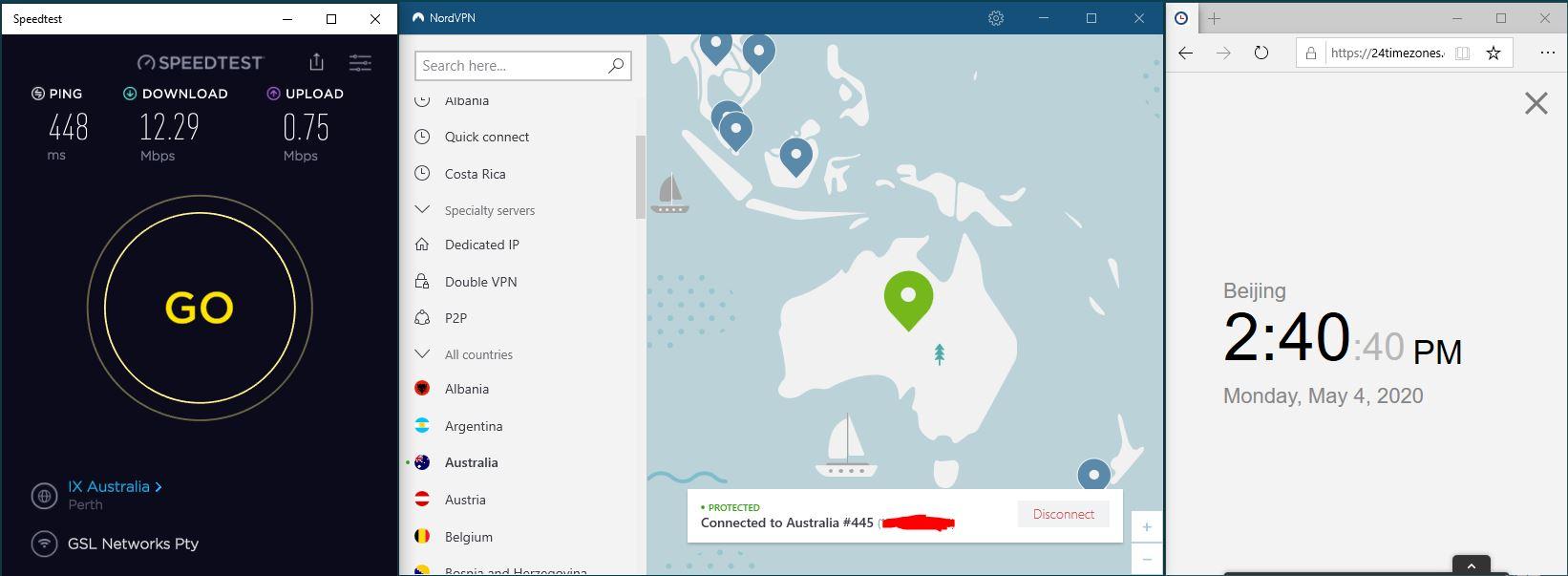 Windows10 NordVPN 混淆协议关闭 Australia #445 中国VPN 翻墙 科学上网 SpeedTest测速-20200504