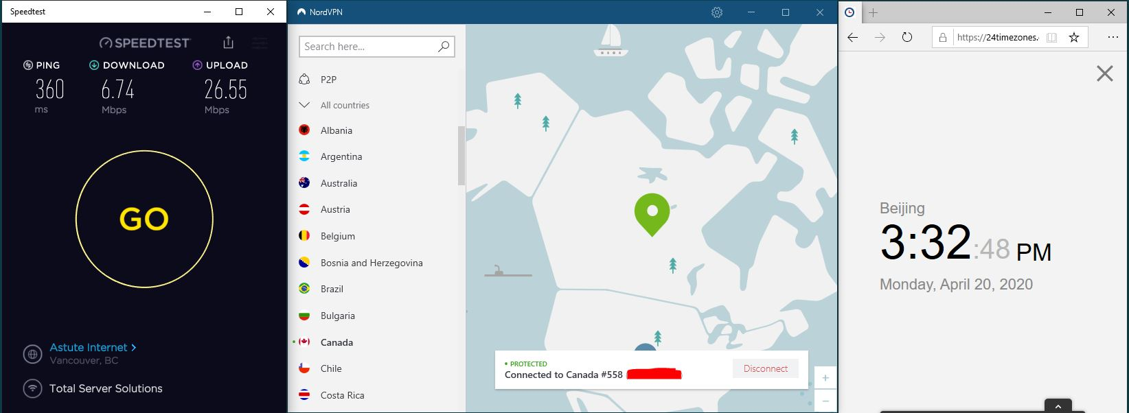 Windows10 NordVPN 混淆协议关闭 Canada 558 中国VPN 翻墙 科学上网 SpeedTest测速 20200420