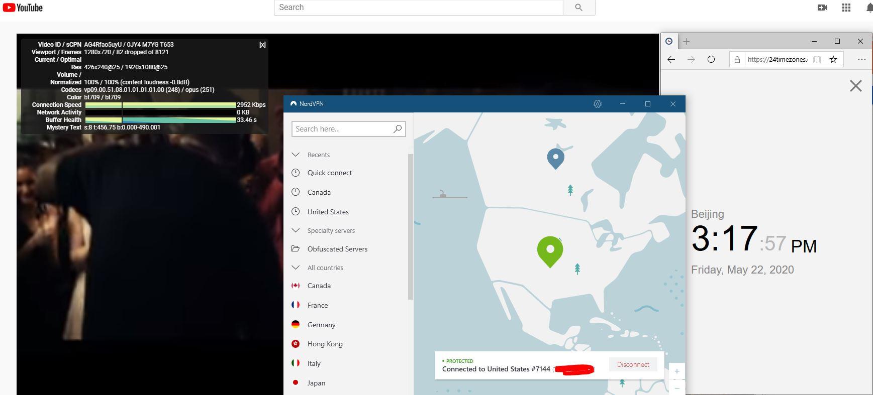 Windows10 NordVPN 混淆开启 USA #7144 中国VPN 翻墙 科学上网 youtube测速-20200522