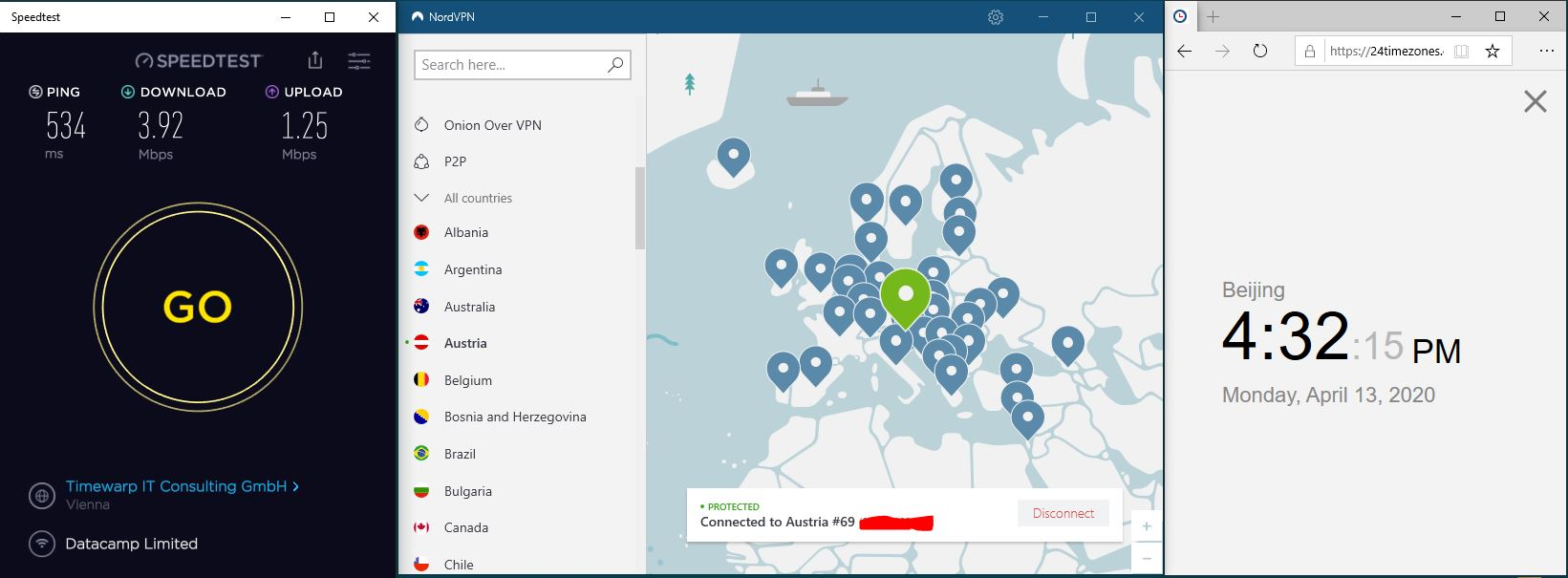 Windows10 NordVPN Austria #69 中国VPN 翻墙 科学上网 SpeedTest测速-20200413
