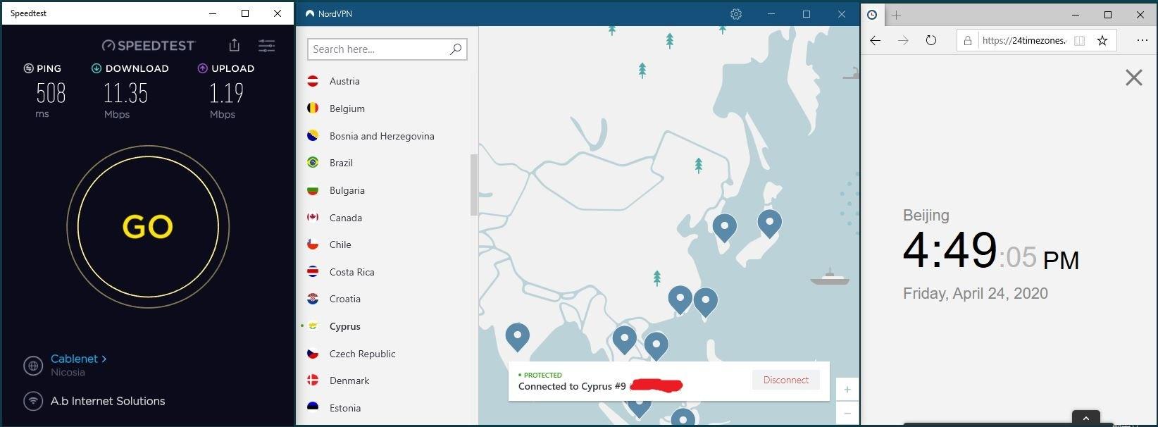 Windows10 NordVPN Cyprus #9 中国VPN 翻墙 科学上网 SpeedTest测速-20200424