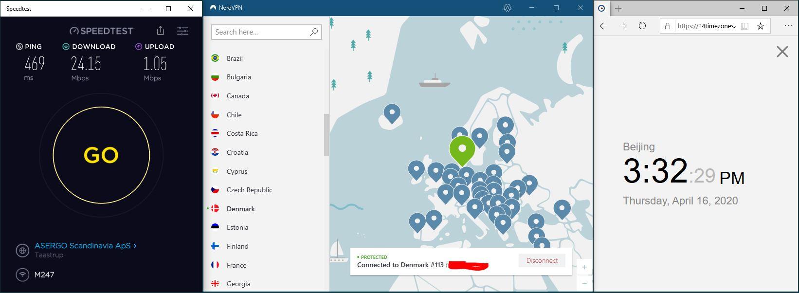 Windows10 NordVPN Denmark #113 中国VPN 翻墙 科学上网 SpeedTest测速-20200416
