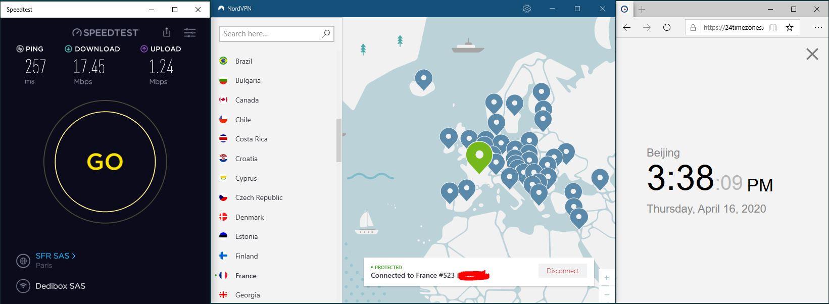 Windows10 NordVPN France #523 中国VPN 翻墙 科学上网 SpeedTest测速-20200416