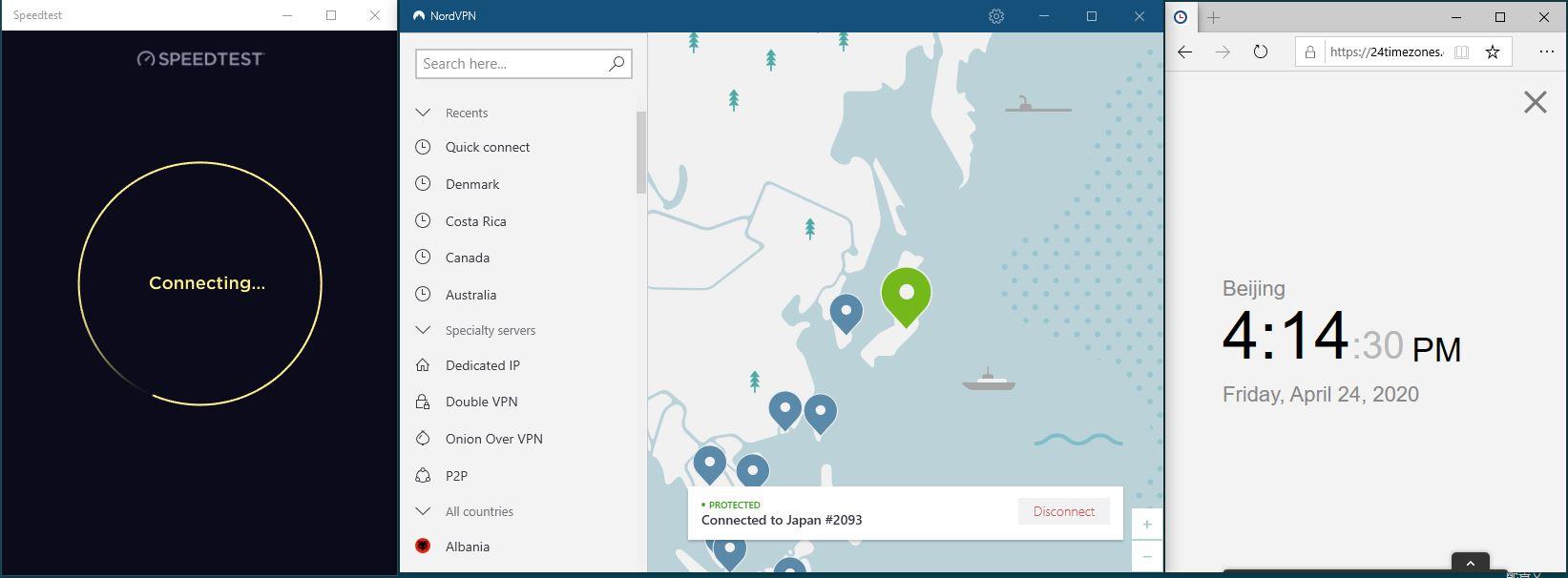 Windows10 NordVPN Japan #2093 中国VPN 翻墙 科学上网 SpeedTest测速-20200424