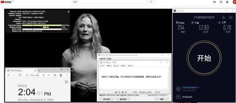 Windows10 NordVPN OpenVPN Gui ca3147 服务器 中国VPN 翻墙 科学上网 测试 - 20201109