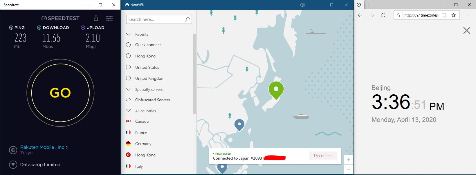 Windows10 NordVPNVPN Japan #2093 中国VPN 翻墙 科学上网 SpeedTest测速-20200413