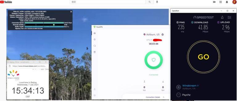Windows10 PureVPN 8.0.1.4 Version IKEv2协议 USA - Ashburn 服务器 中国VPN 翻墙 科学上网 Barry测试 10BEASTS - 20210707