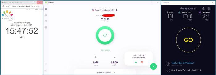 Windows10 PureVPN 8.0.1.4 Version IKEv2-2协议 USA - San Francisco 服务器 中国VPN 翻墙 科学上网 Barry测试 10BEASTS - 20210707