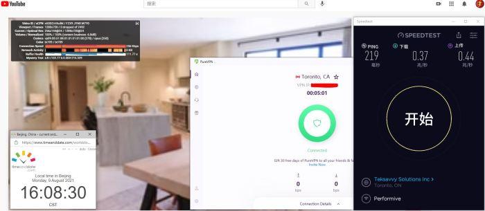 Windows10 PureVPN Automatic协议 Canada - Toronto 服务器 中国VPN 翻墙 科学上网 Barry测试 10BEASTS - 20210809