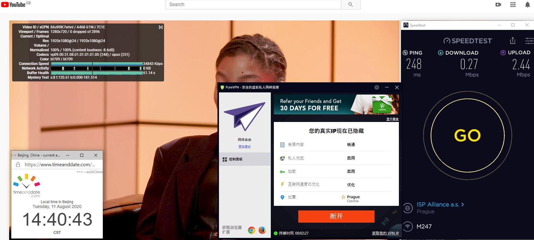 Windows10 PureVPN Caech Republic 中国VPN 翻墙 科学上网 翻墙速度测试 - 20200811